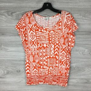 Forever 21 Orange Patterned Ruffle Waist Knit Top